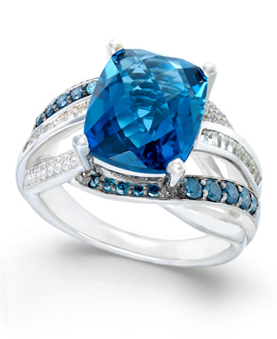 Blue Topaz (6-1/3 ct. t.w.) and Diamond (5/8 ct. t.w.) Statement Ring in 14k White Gold