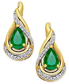Emerald (3/4 ct. t.w.) and Diamond (1/10 ct. t.w.) Stud Earrings in 14k Gold(Also Available in Sapphire)
