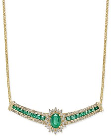 Emerald (2-1/3 ct. t.w.) and Diamond (3/4 ct. t.w.) Collar Necklace in 14k Gold