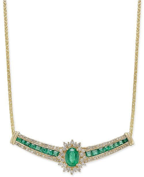 Macy's Emerald (2-1/3 ct. t.w.) and Diamond (3/4 ct. t.w.) Collar Necklace in 14k Gold