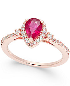 Ruby (3/4 ct. t.w.) and Diamond (1/4 ct. t.w.) Ring in 14k Rose Gold