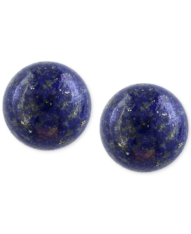 EFFY Collection EFFY® Lapis Lazuli (10mm) Button Stud Earrings in 14k Gold