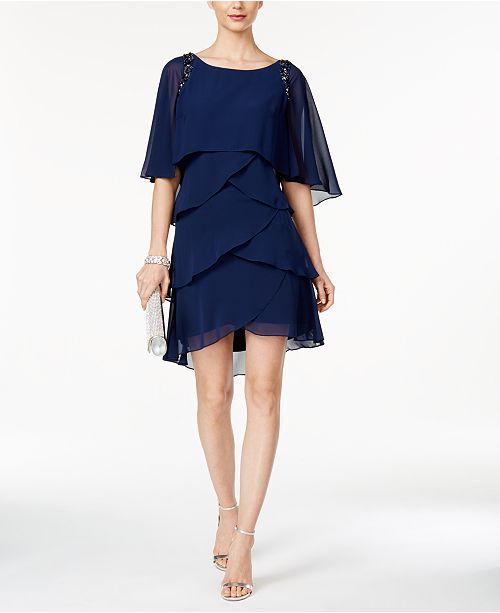 e3128b31366 SL Fashions Beaded Tiered Capelet Dress   Reviews - Dresses - Women ...