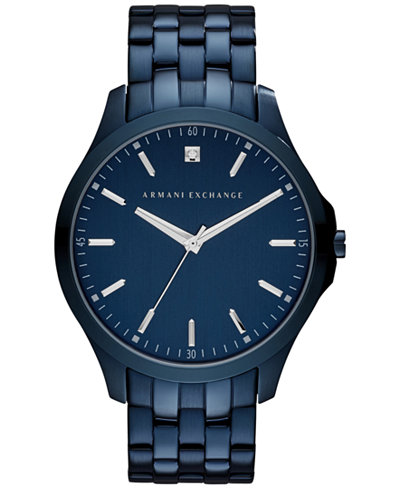 armani exchange watches macy s a x armani exchange men s diamond accent blue ion plated stainless steel bracelet watch
