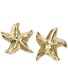 Patterned Starfish Stud Earrings in 10k Gold