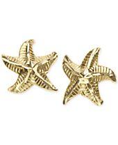 Patterned Starfish Stud Earrings in 10k Gold