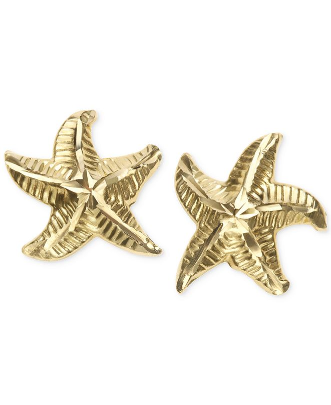 Macy's Patterned Starfish Stud Earrings in 10k Gold