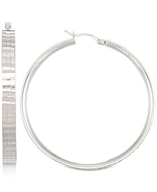 Textured Hoop Earrings in 14k White Gold Vermeil