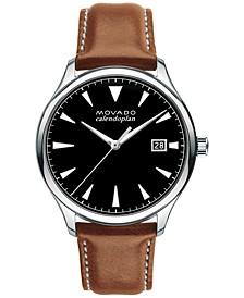 Men's Swiss Heritage Series Calendoplan Cognac Leather Strap Watch 40mm 3650001
