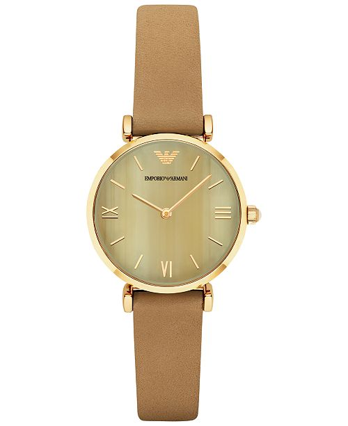 Emporio Armani Women's Gianni T-Bar Light Brown Leather Strap Watch 32mm AR1967