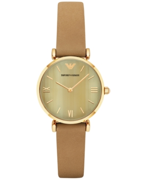 Emporio Armani Women's Gianni T-Bar Light Brown Leather Strap Watch 32mm AR1967