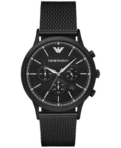 Emporio Armani Men's Chronograph Renato Black Stainless Steel Mesh Bracelet Watch 43mm AR2498