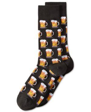 """HOT SOX Men'S """"Beer"""" Socks in Black"""