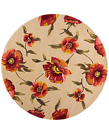 "Kas Catalina 766 Ivory Poppies 5'6"" Round Rug"