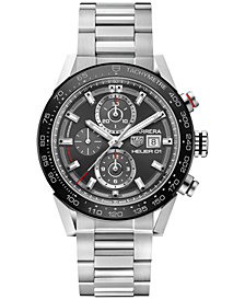 TAG Heuer Men's Swiss Automatic Chronograph Carrera Stainless Steel Bracelet Watch 43mm CAR201W.BA0714