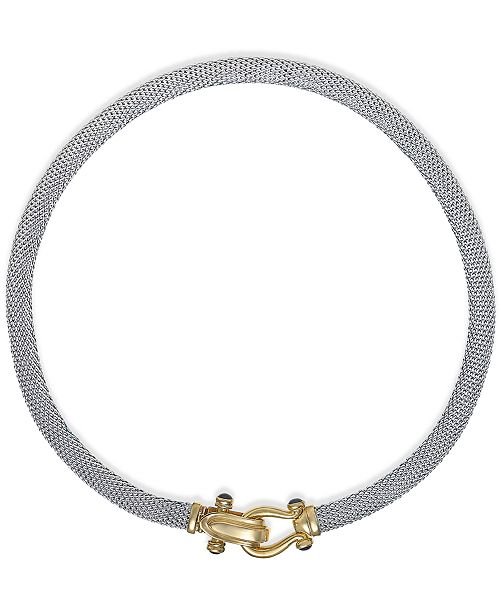 Italian Gold Rounded Mesh Collar Necklace in 14k Gold over Sterling Silver