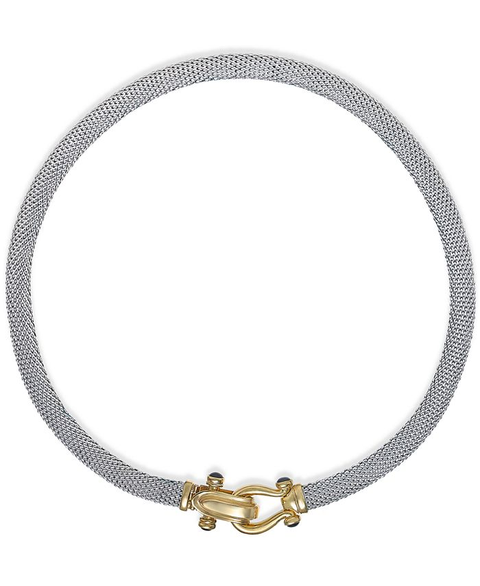Italian Gold - Rounded Mesh Collar Necklace in Sterling Silver and 14k Gold over Sterling Silver