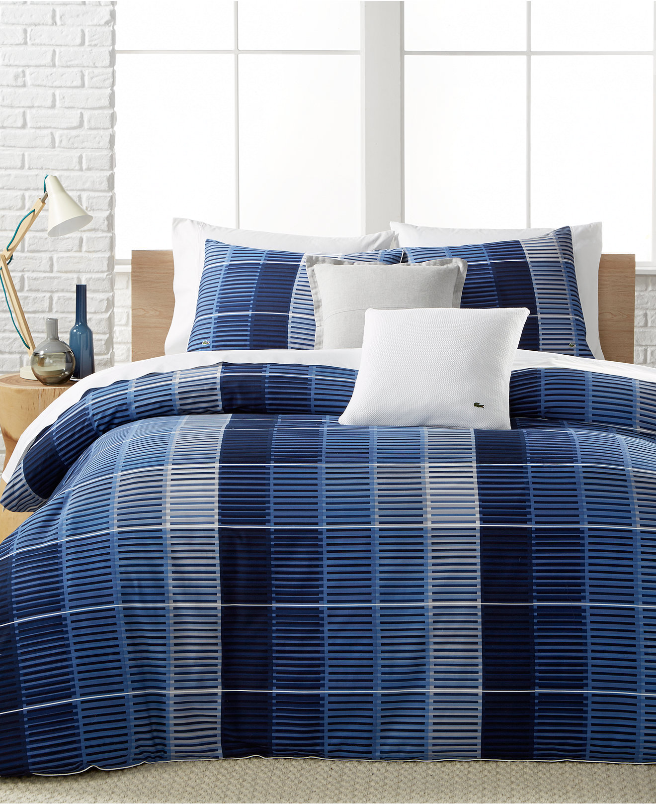 Royal blue bedding queen - Lacoste Home Blue Albe Bedding Collection