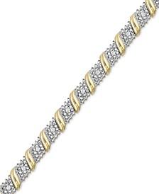 Diamond Diagonal Bar Bracelet (1/4 ct. t.w.) in 14k Gold-Plated Sterling Silver