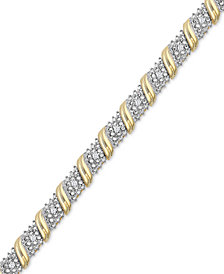 Diamond Diagonal Bar Bracelet (1/4 ct. t.w.) in 14k Gold-Plated Sterling Silver