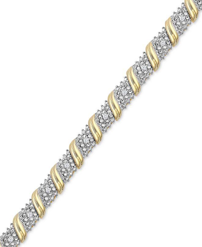 Macy's Diamond Diagonal Bar Bracelet (1/4 ct. t.w.) in 14k Gold-Plated Sterling Silver
