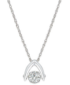 Diamond Solitaire Wishbone Pendant Necklace (5/8 ct. t.w.) in 14k White Gold
