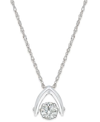 Diamond solitaire wishbone pendant necklace 58 ct tw in 14k diamond solitaire wishbone pendant necklace 58 ct tw in 14k white aloadofball Image collections