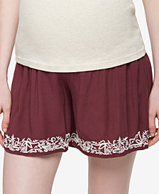 A Pea In The Pod Maternity Embroidered Shorts