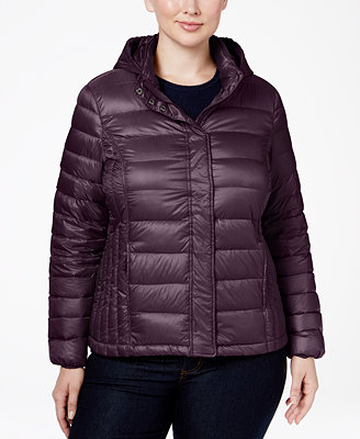 32 Degrees Plus Size Hooded Packable Down Puffer Coat ...