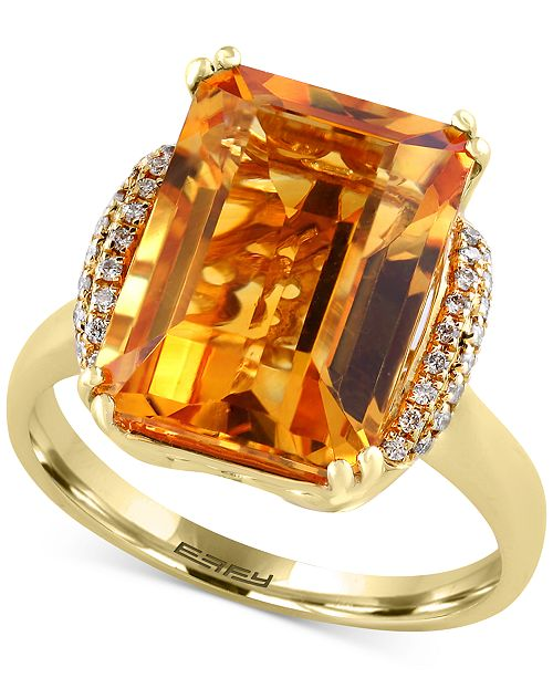 EFFY Collection Sunset by EFFY® Citrine (7-1/5 ct. t.w.) and Diamond (1/8 ct. t.w.) Statement Ring in 14k Gold
