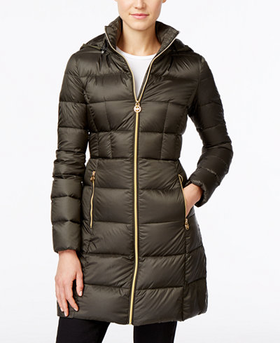 michael michael kors hooded long packable down puffer coat coats women macy 39 s. Black Bedroom Furniture Sets. Home Design Ideas