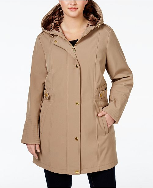 21a46b13d3c Via Spiga Plus Size Water-Repellent Hooded Raincoat   Reviews ...