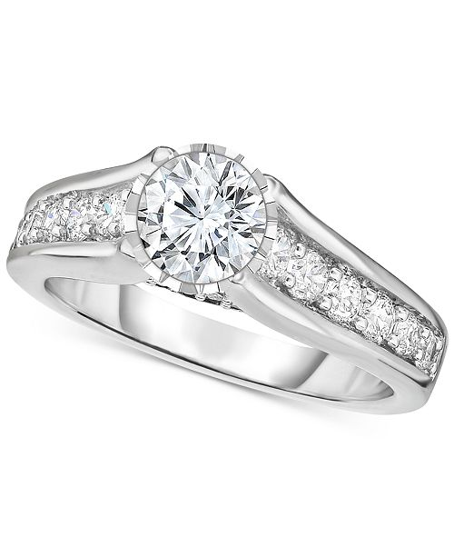 TruMiracle Diamond Engagement Ring (1-1/2 ct. t.w.) in 14k White Gold