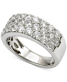 Marchesa Diamond Three-Row Wedding Band (2 ct. t.w.) in 18k White Gold, Created for Macy's