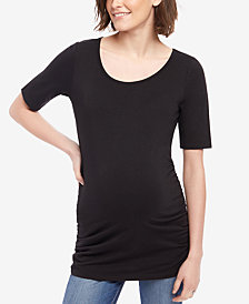 Motherhood Maternity Ruched Elbow-Sleeve Top