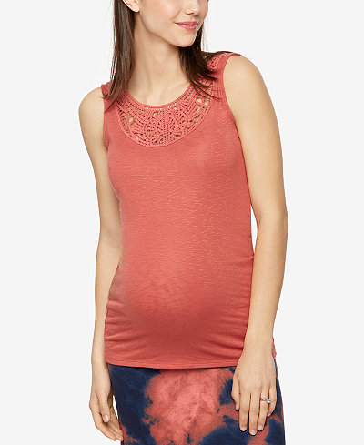 A Pea In The Pod Maternity Crochet-Trim Tank Top