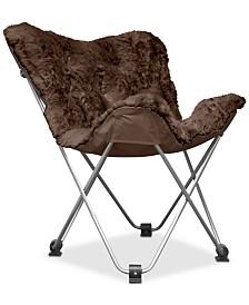 Adrian Long Hair Faux Fur Butterfly Chair, Quick Ship