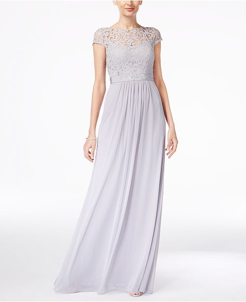5704941acb9 Adrianna Papell Lace Illusion Gown   Reviews - Dresses - Women - Macy s