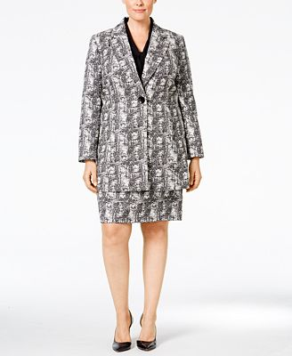 Kasper Plus Size Jacquard Jacket, Tie-Neck Blouse & Pencil Skirt