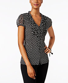 I.N.C. Ruffled Polka-Dot Blouse, Created for Macy's