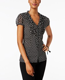I.N.C. Ruffled Printed Blouse, Created for Macy's