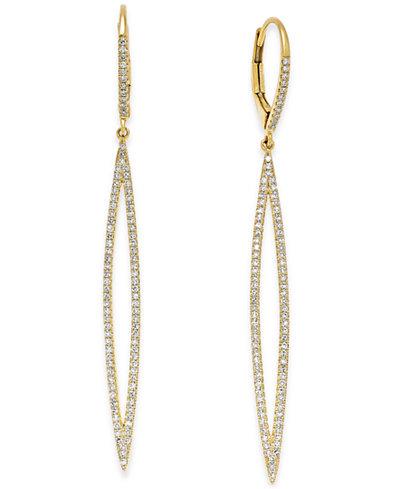 Diamond Leverback Long Marquise Drop Earrings (1/3 ct. t.w.) in 14k Gold