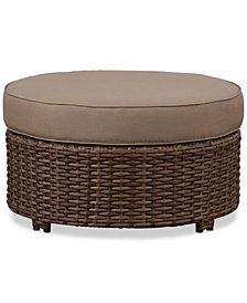 "Aqua 34"" Outdoor Wicker Round Ottoman, Created for Macy's"