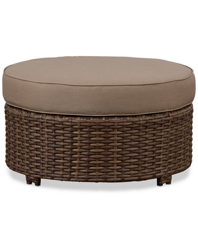 Azua 34 Quot Outdoor Wicker Round Ottoman Furniture Macy S