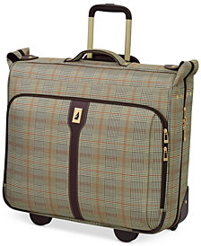 """CLOSEOUT! London Fog Knightsbridge 44"""" Rolling Garment Bag, Available in Brown and Grey Glen Plaid, Created for Macy's"""