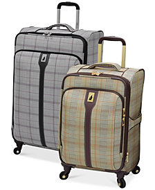 CLOSEOUT! London Fog Knightsbridge Spinner Luggage Collection, Available in Brown and Grey Glen Plaid, Created for Macy's