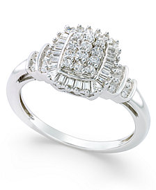 Diamond Square Cluster Promise Ring (1/2 ct. t.w.) in Sterling Silver