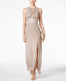 Metallic Knit Keyhole Halter Gown