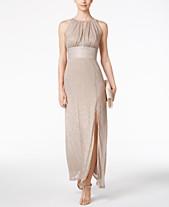 8110ee2aa23 R   M Richards Metallic Knit Keyhole Halter Gown
