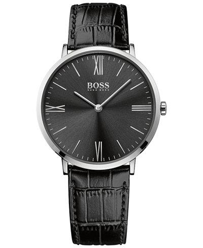 BOSS Hugo Boss Men's Jackson Black Leather Strap Watch 40mm 1513369